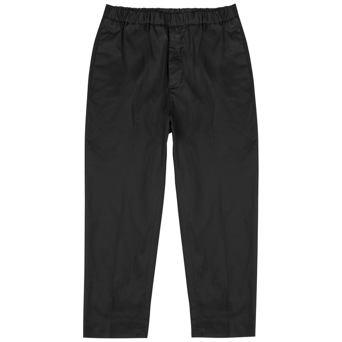 Jil Sander BLACK CROPPED TAPERED COTTON TROUSERS