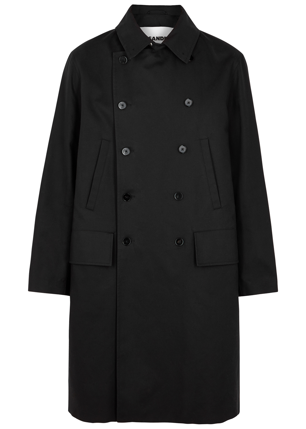 Black double-breasted cotton coat