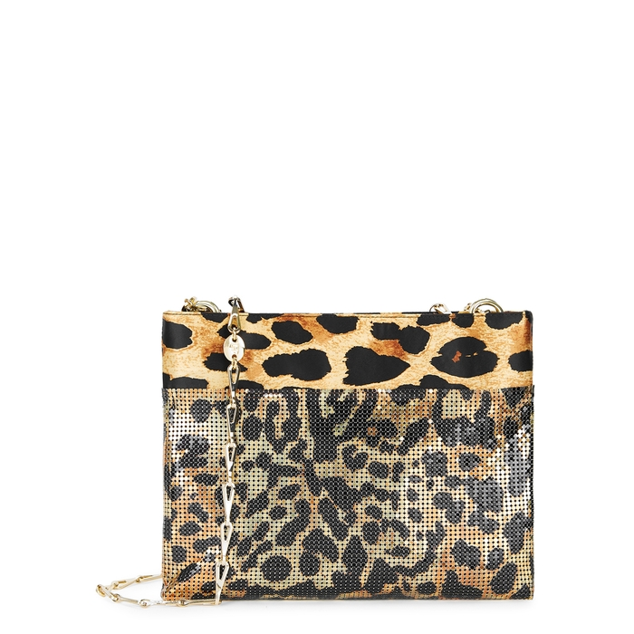 Paco Rabanne Leathers PIXEL LEOPARD-PRINT CHAINMAIL SHOULDER BAG