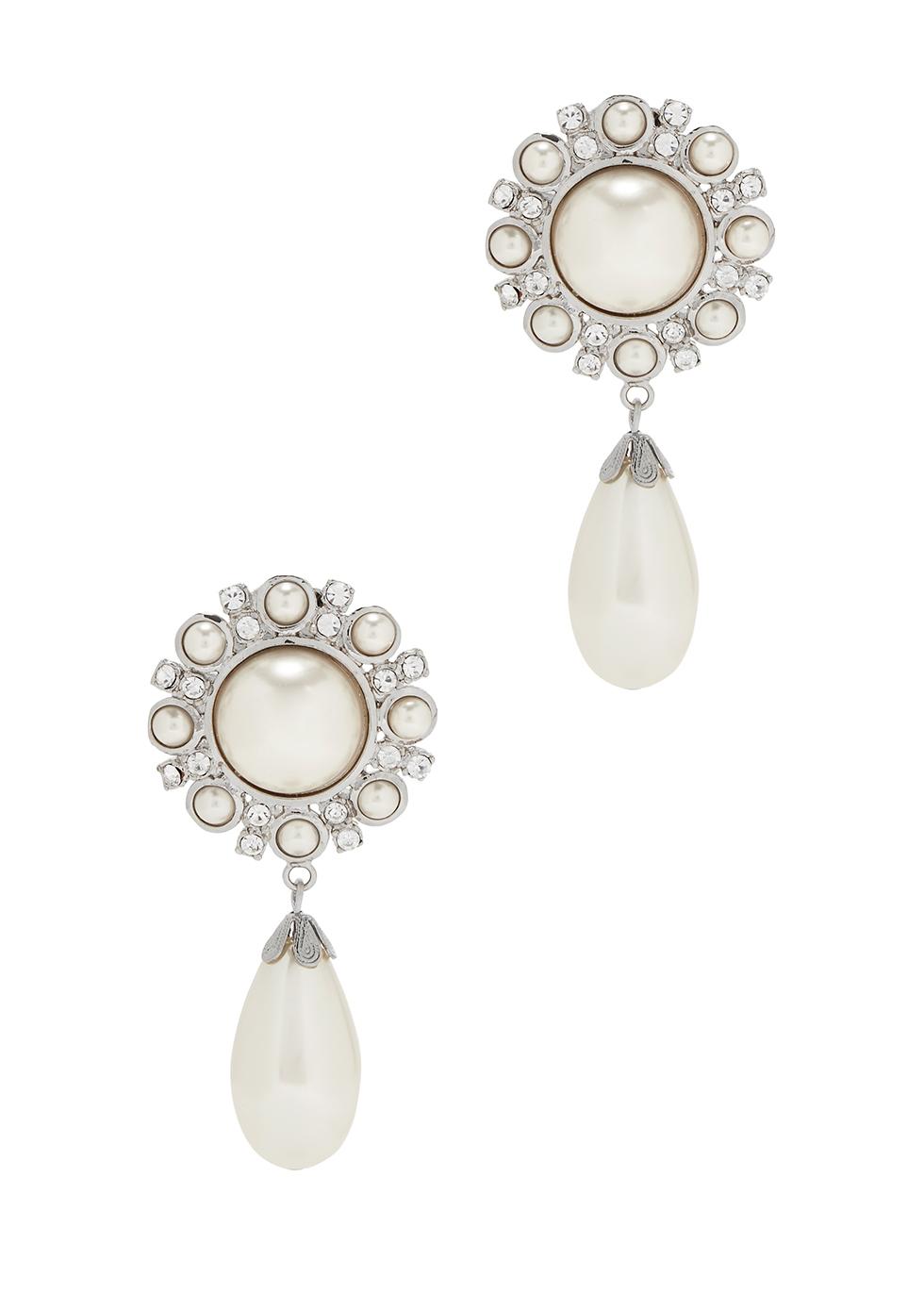 Pearl clip-on drop earrings