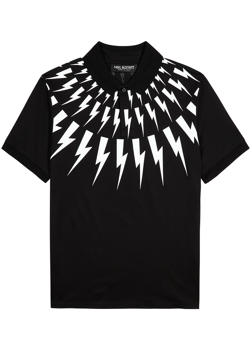 Black printed cotton polo shirt