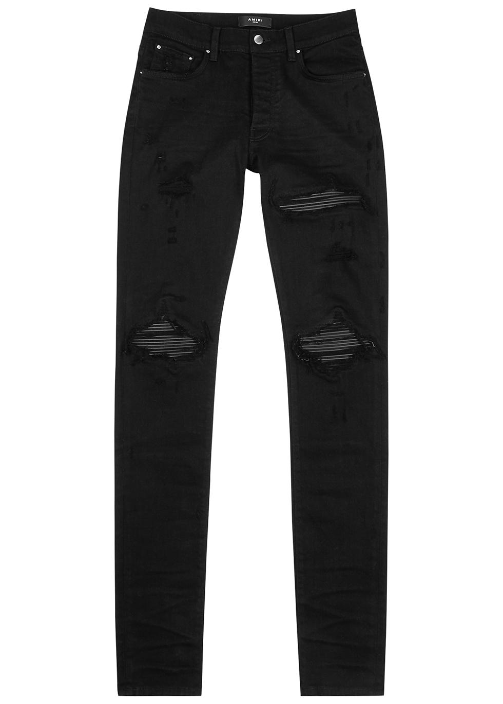 MX1 black distressed skinny jeans
