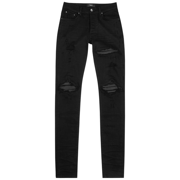 Amiri MX1 BLACK DISTRESSED SKINNY JEANS