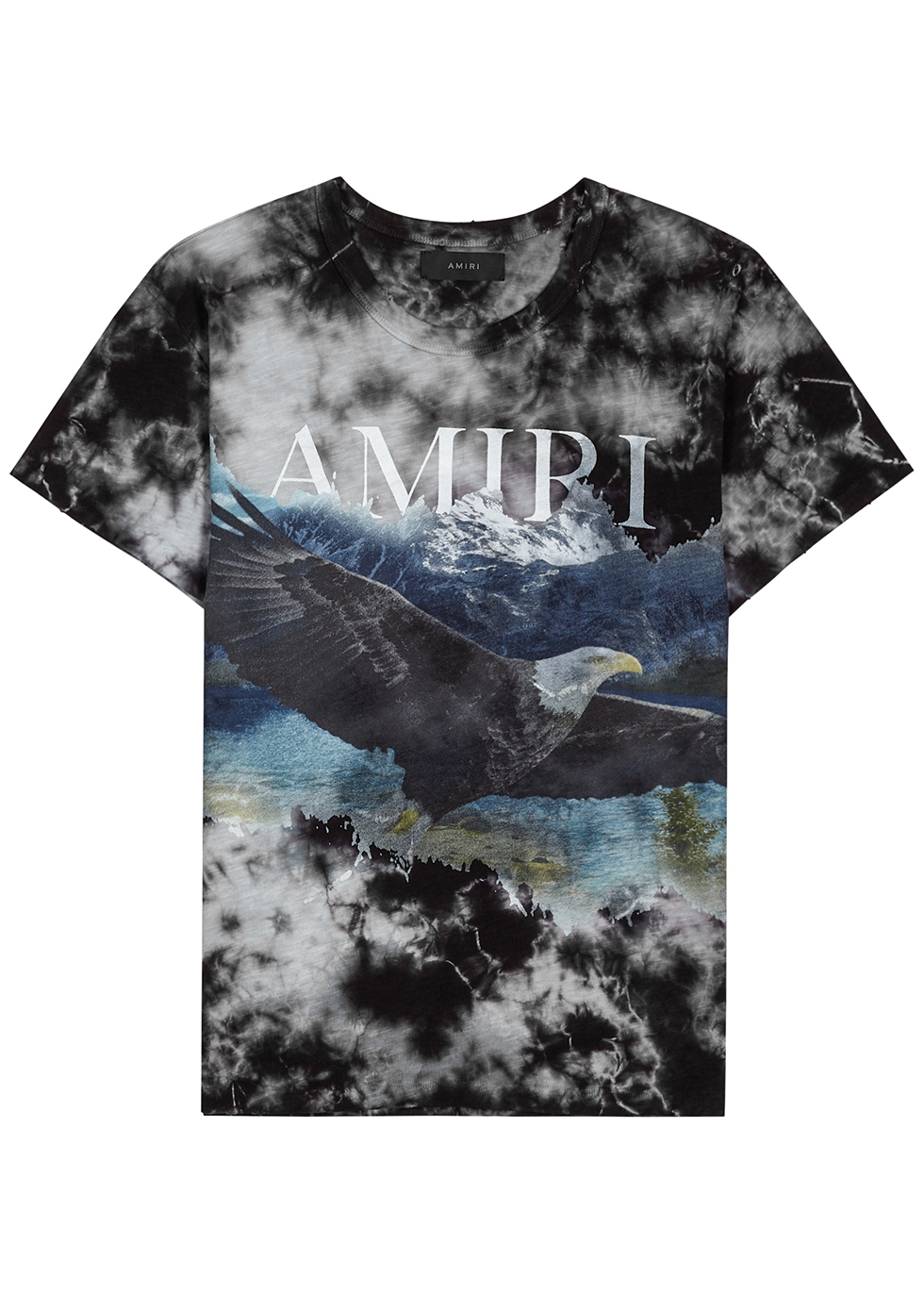 Eagle tie-dye printed cotton T-shirt