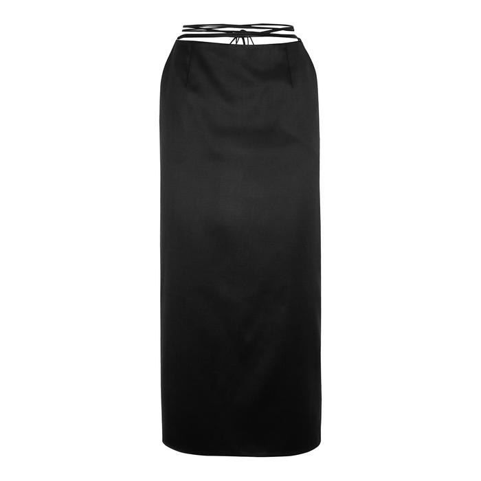 Magda Butrym Midi skirts BLACK SATIN MIDI SKIRT
