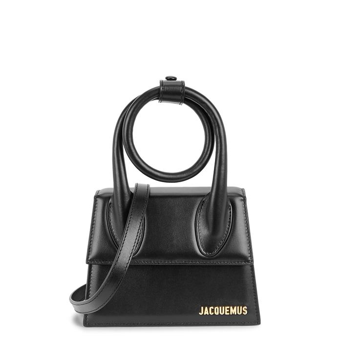 Jacquemus LE CHIQUITO NOEUD BLACK LEATHER TOP HANDLE BAG