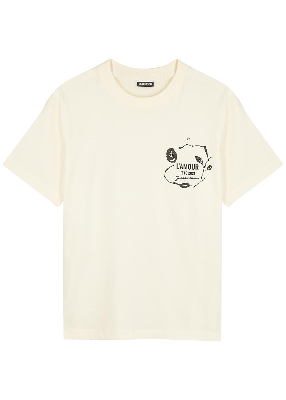Le T-shirt L'Amour cream cotton T-shirt