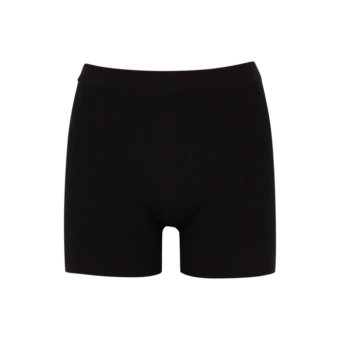 Jacquemus LE SHORT ARANCIA BLACK RIBBED SHORTS