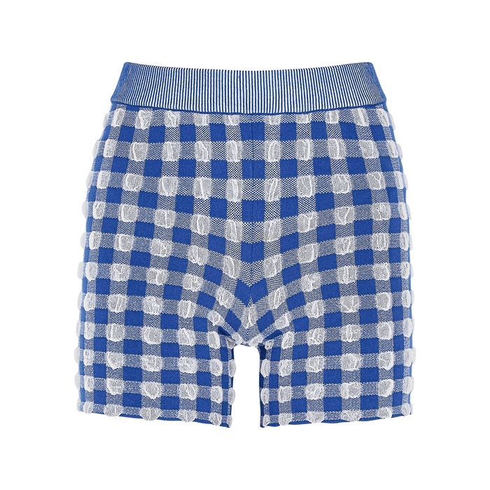 Jacquemus LE SHORT ARANCIA GINGHAM STRETCH-KNIT SHORTS