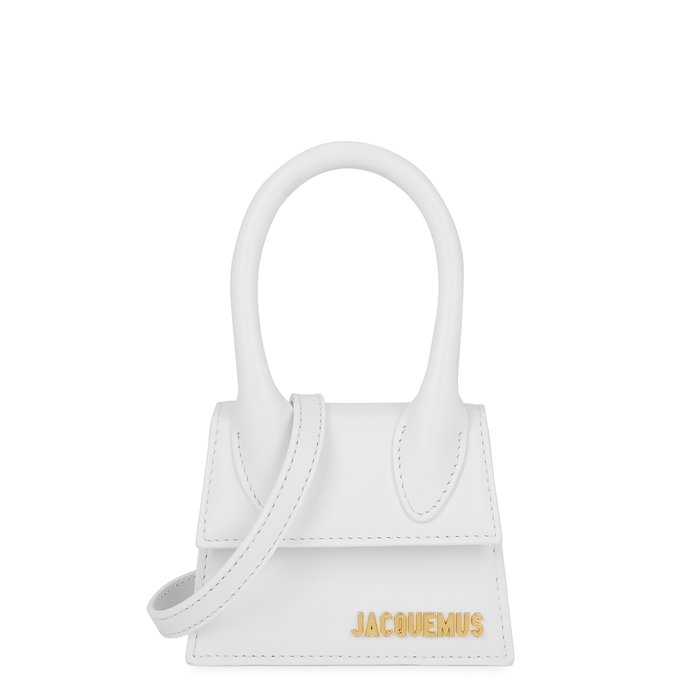 Jacquemus LE CHIQUITO WHITE LEATHER TOP HANDLE BAG