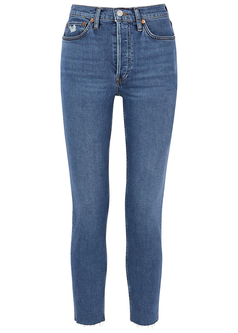 90s Comfort Stretch High Rise blue slim-leg jeans