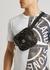 Black logo coated canvas belt bag - Stone Island