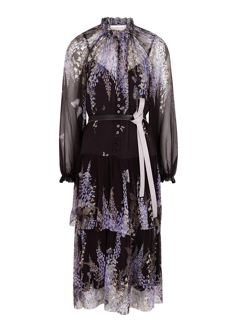 Botanica floral-print silk-chiffon midi dress