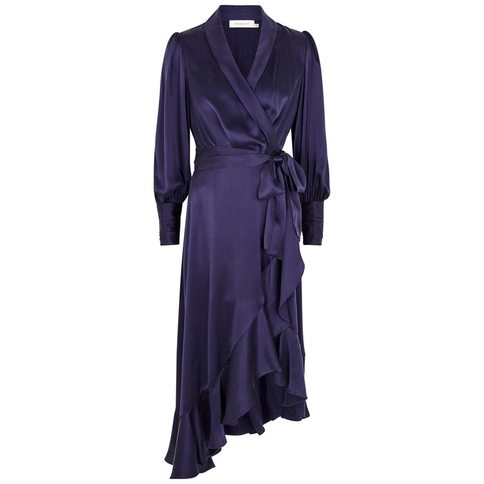 Zimmermann DARK PURPLE RUFFLE-TRIMMED SILK-SATIN WRAP DRESS