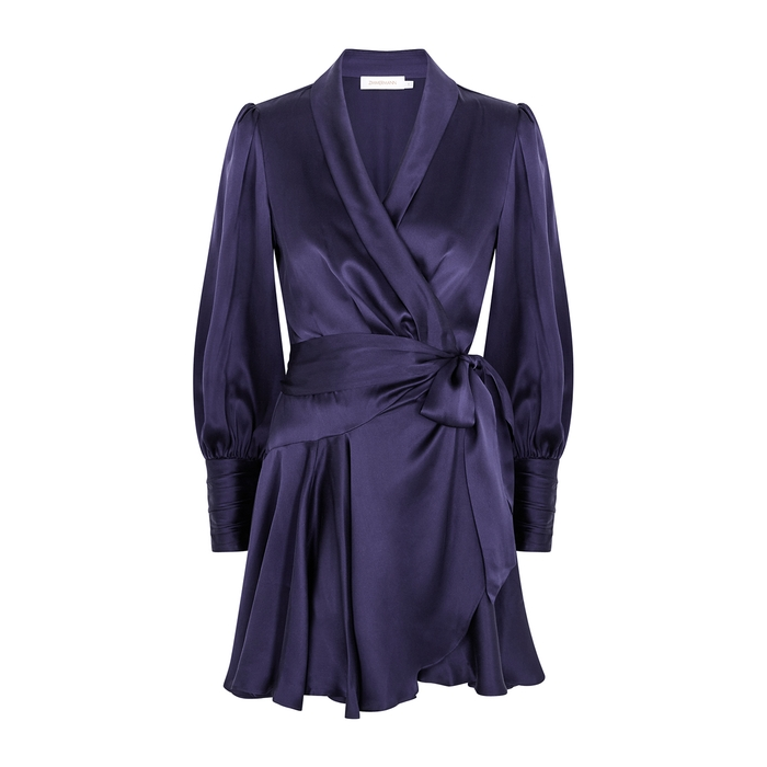 Zimmermann DARK PURPLE SILK-SATIN WRAP DRESS