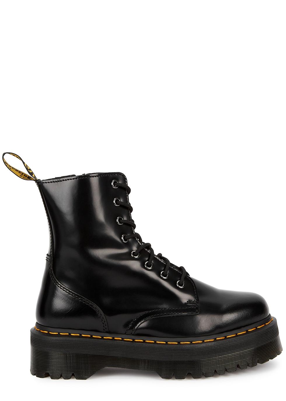 Jadon black leather flatform ankle boots
