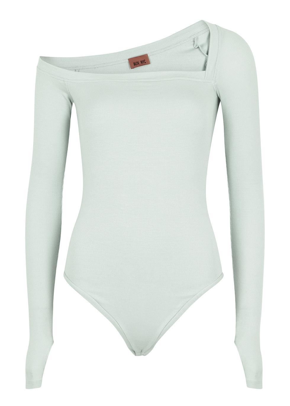 Hester mint asymmetric stretch-jersey bodysuit