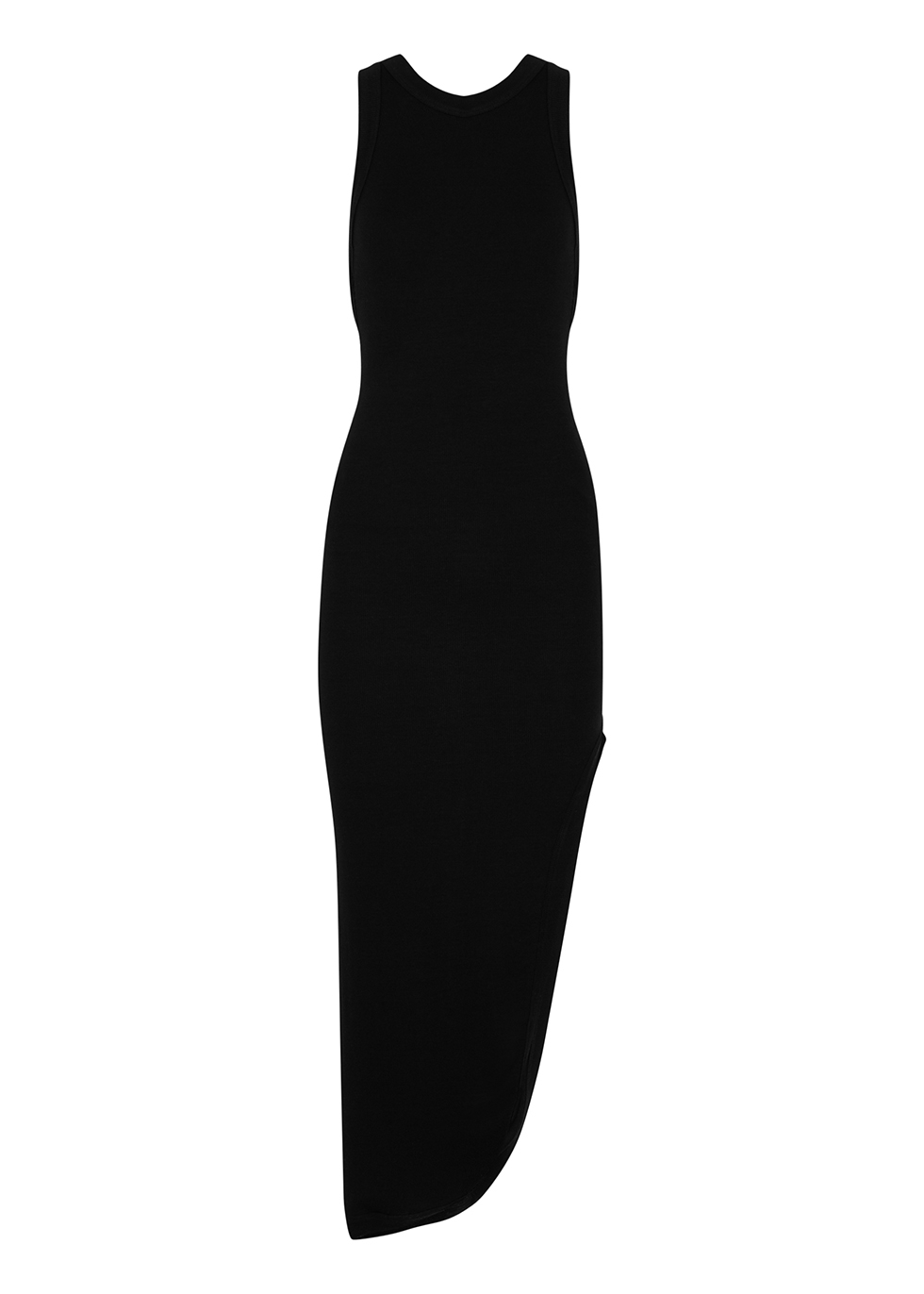 Minetta black asymmetric stretch-jersey midi dress