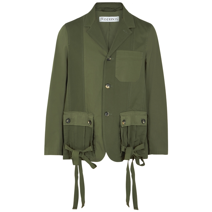 Jw Anderson Army Green Panelled Cotton Jacket In Khaki Green
