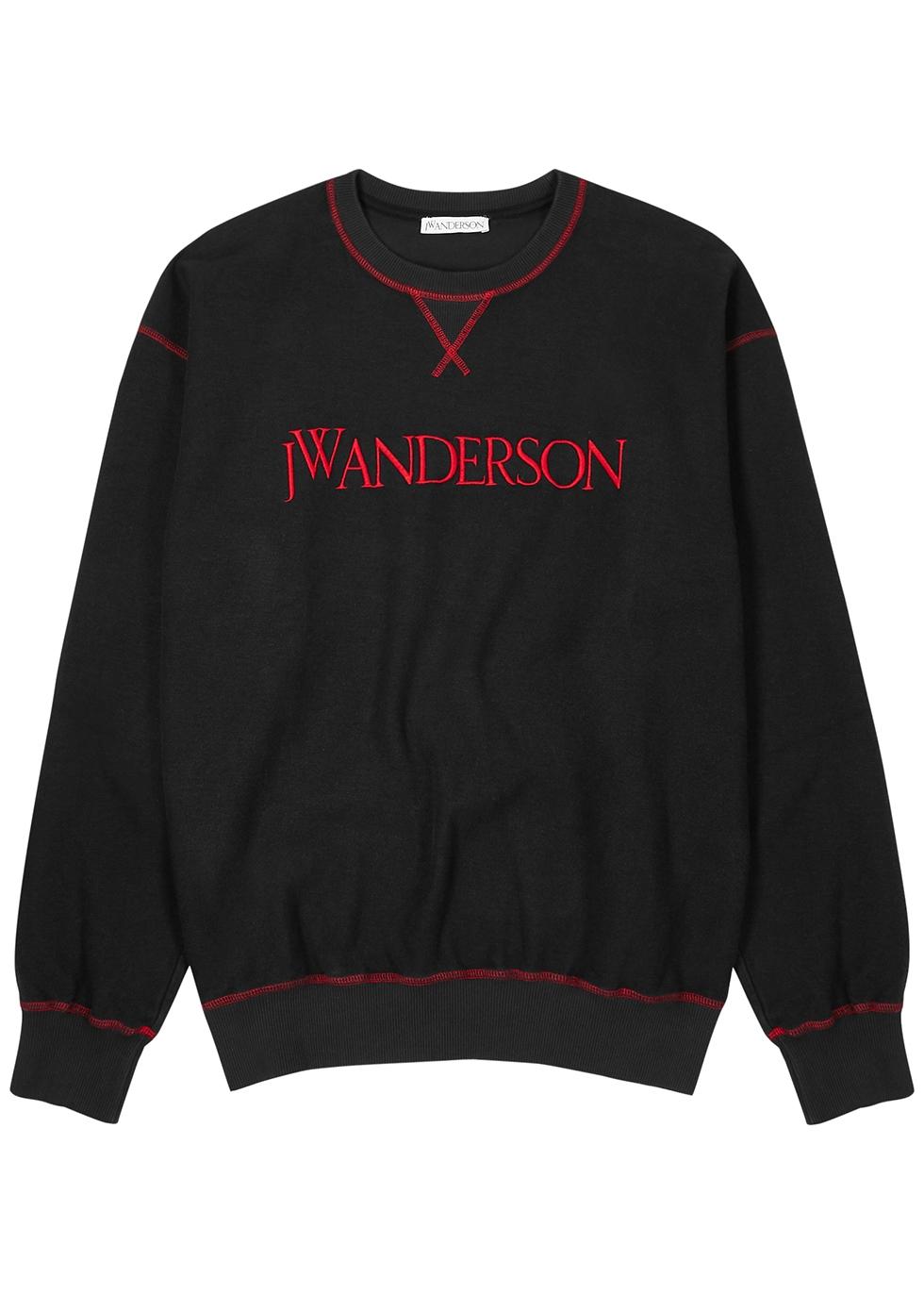 Black logo-embroidered terrycloth sweatshirt