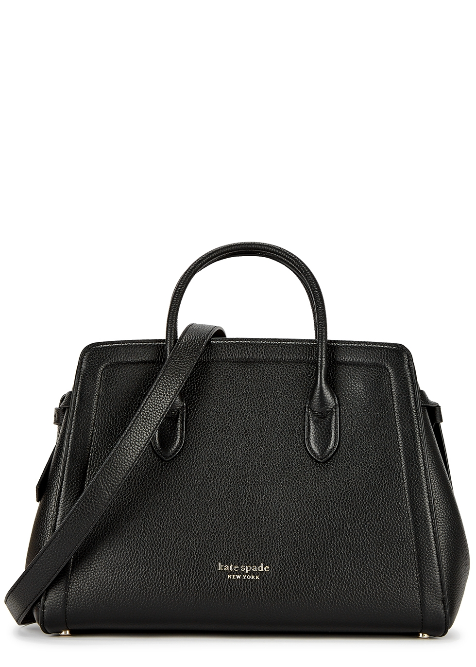 Kate Spade KNOTT LARGE BLACK LEATHER TOP HANDLE BAG