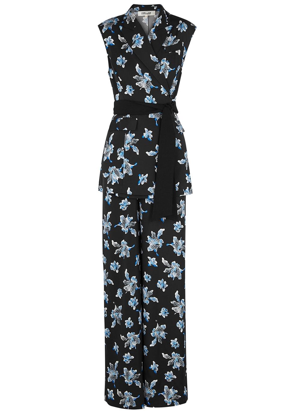 Bernice floral-print crepe de chine jumpsuit