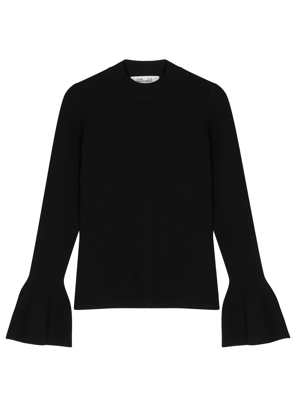 Flutter black stretch-knit jumper