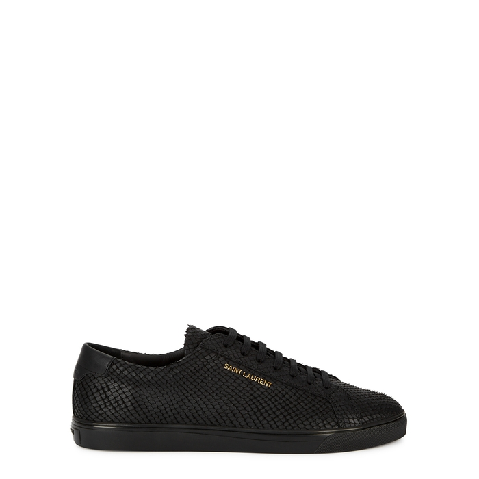 Saint Laurent ANDY BLACK PYTHON-EFFECT LEATHER SNEAKERS
