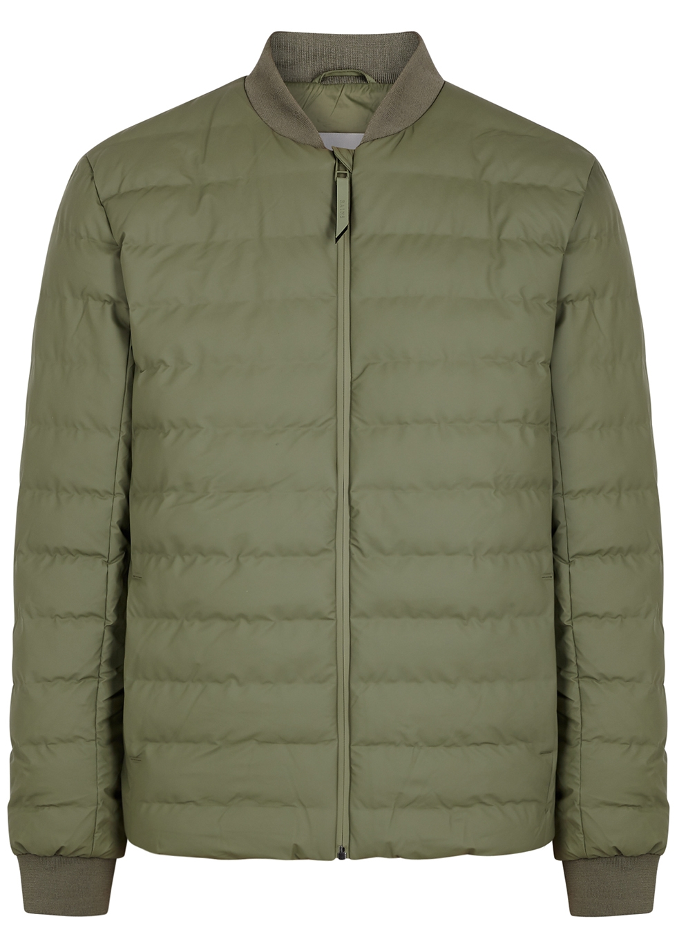 Trekker army green quilted rubberised jacket
