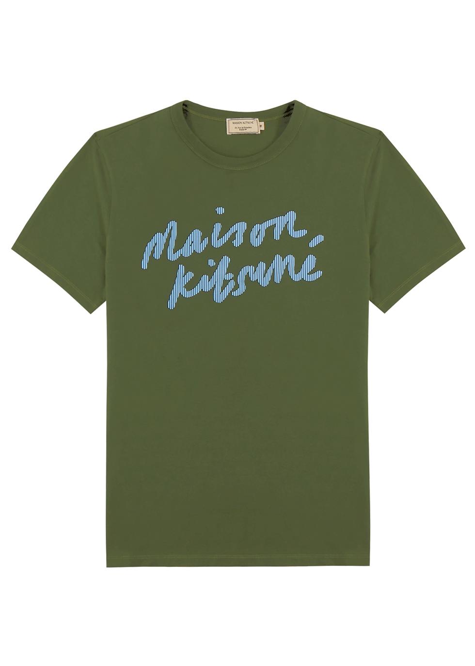Army green printed cotton T-shirt