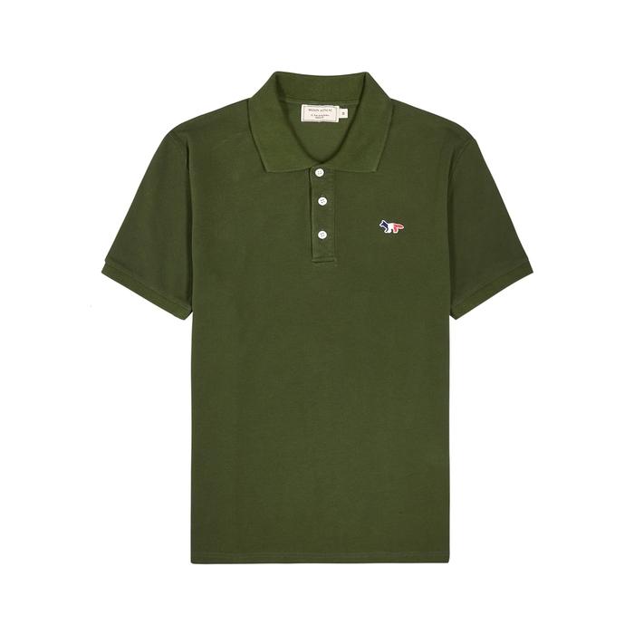 Maison Kitsuné Shirts DARK GREEN PIQUÉ COTTON POLO SHIRT