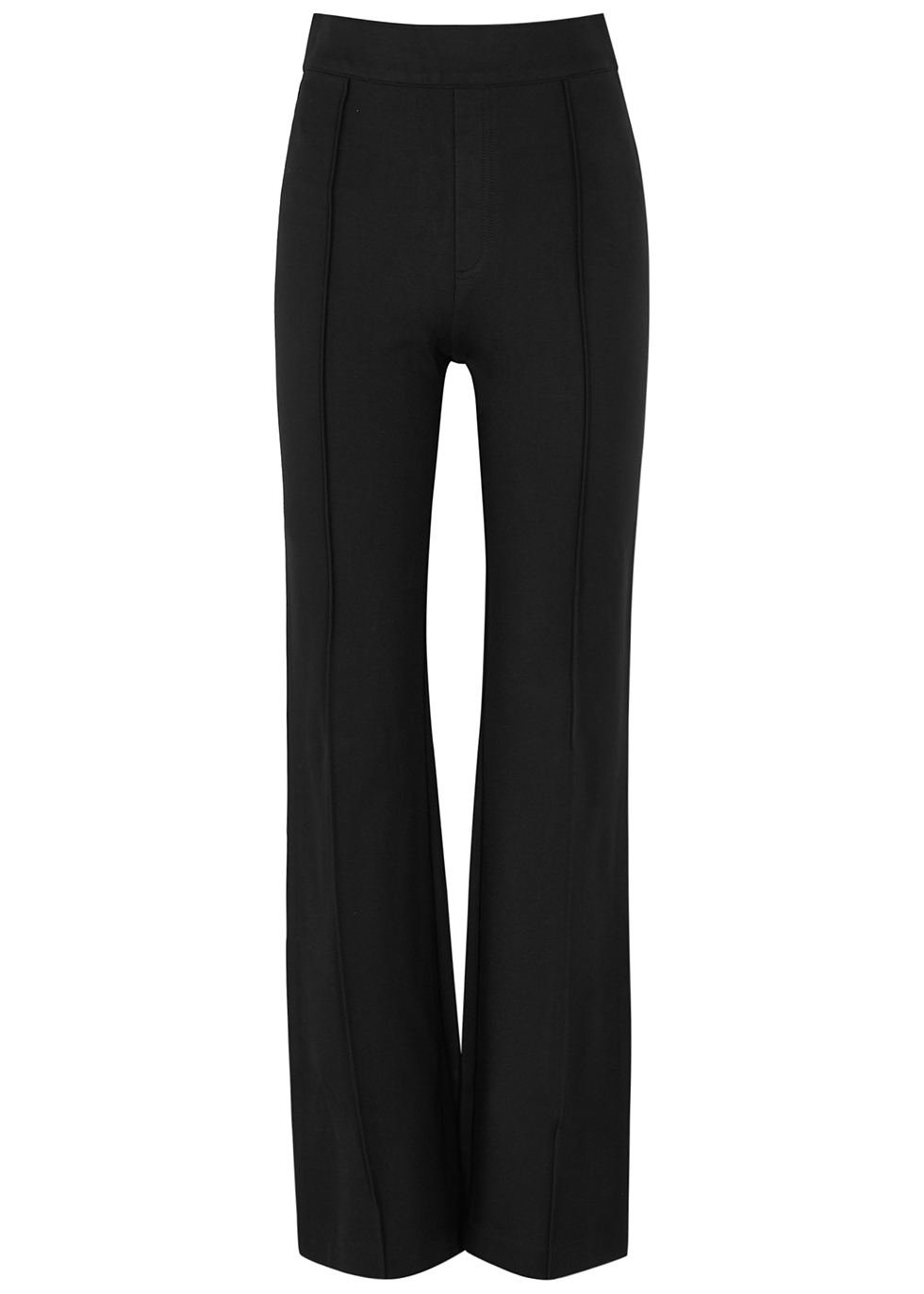 Black stretch-jersey flared-leg trousers
