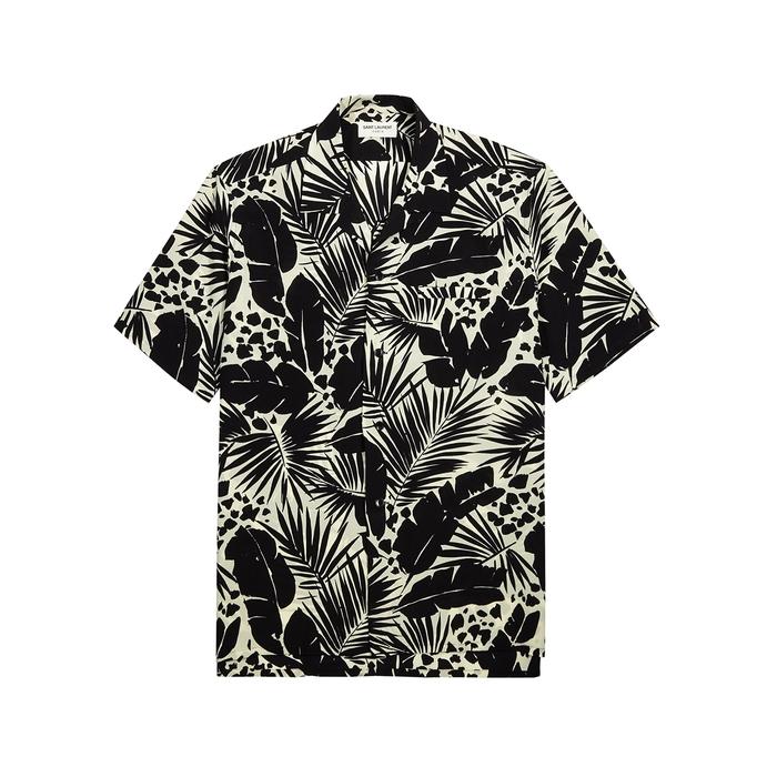 Saint Laurent Shirts LEAF-PRINT SILK CREPE DE CHINE SHIRT