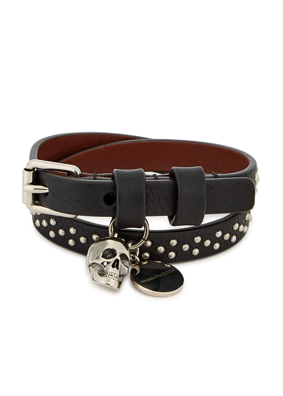 Black studded leather wrap bracelet