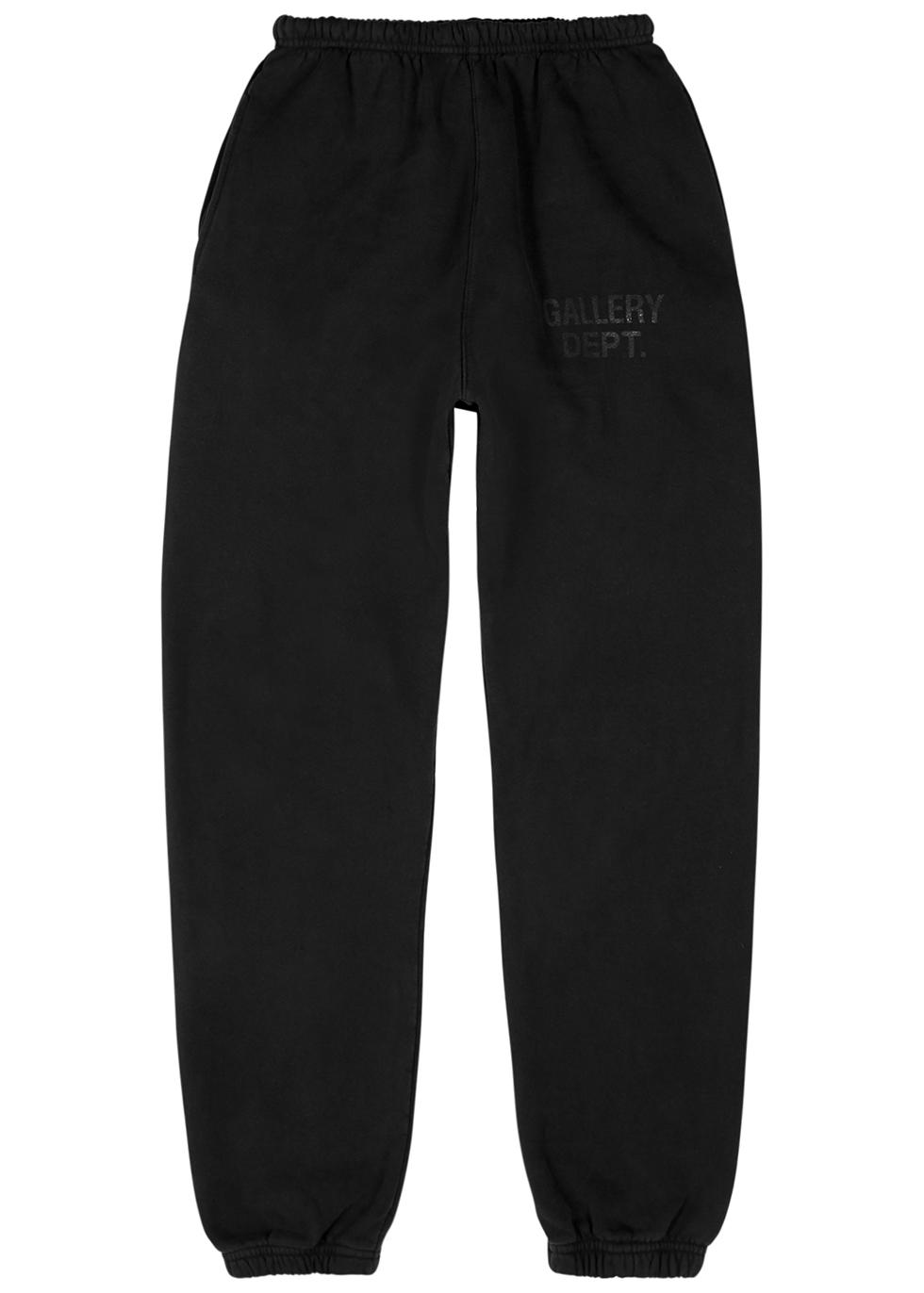 Black faded cotton sweatpants