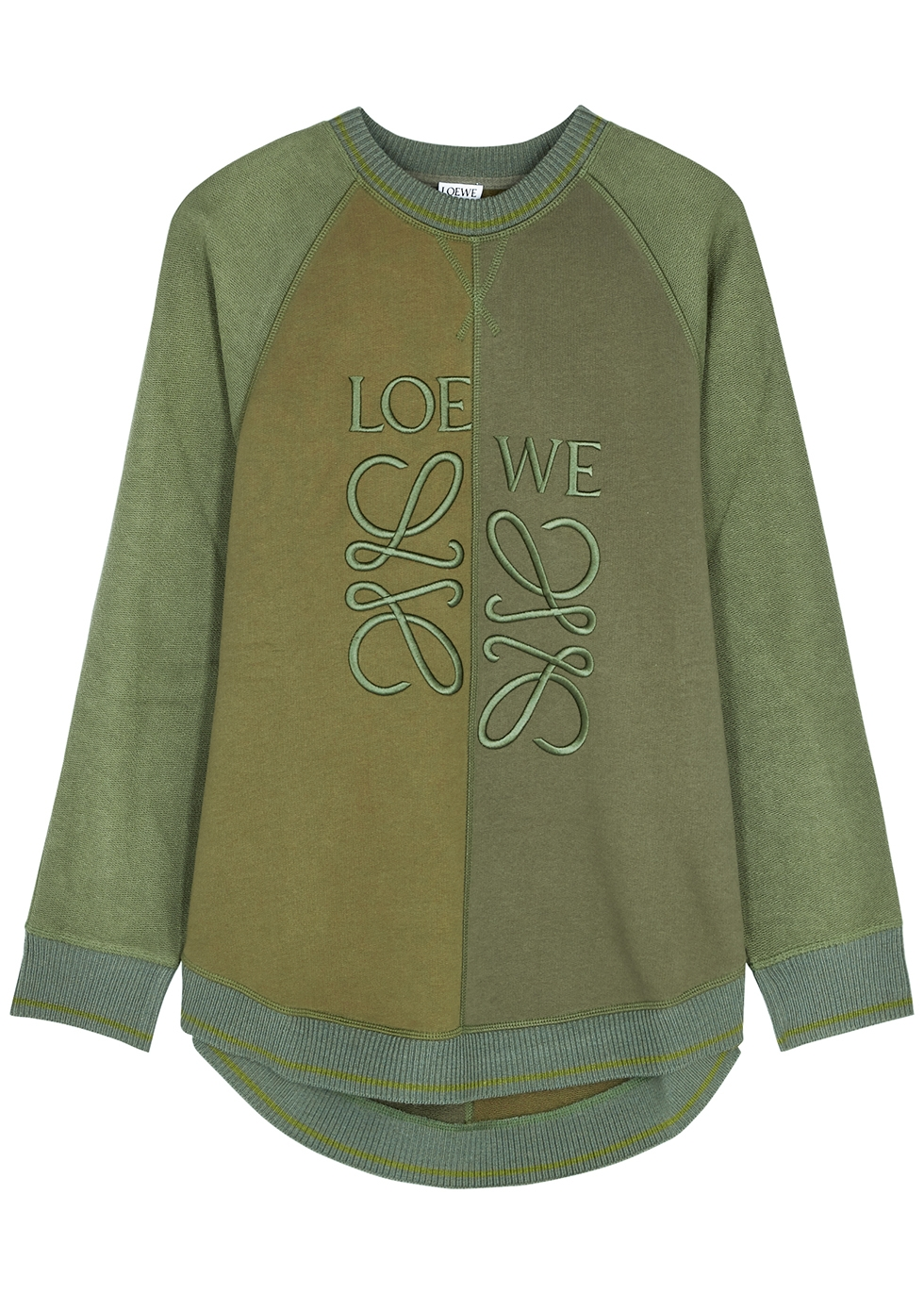 Green logo-embroidered cotton sweatshirt
