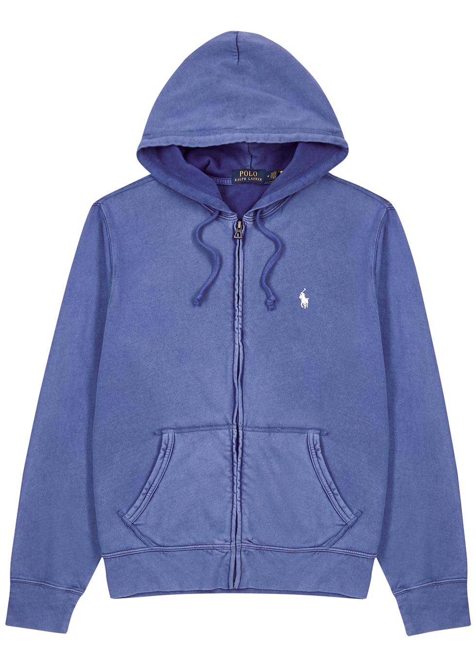 Blue hooded cotton sweatshirt