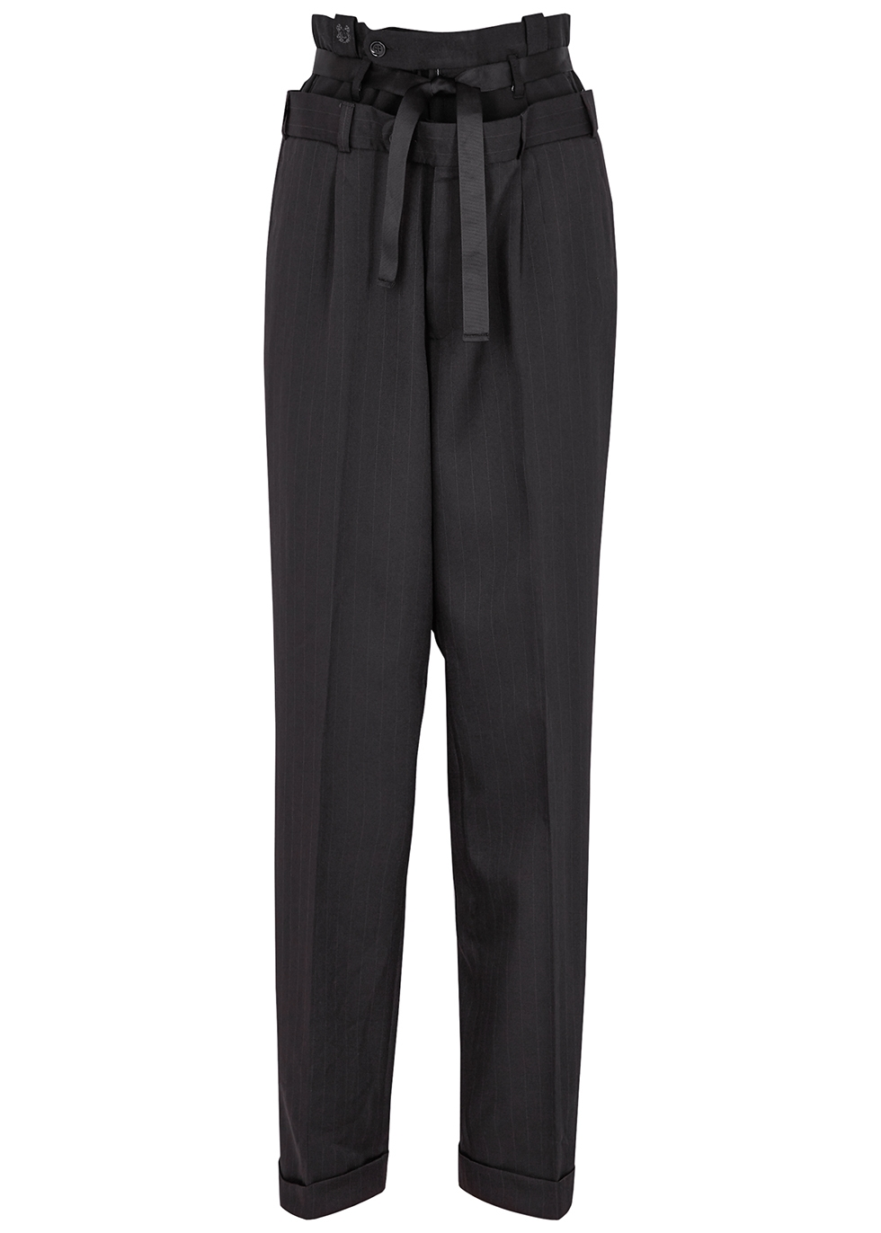 Panelled pinstriped tapered trousers