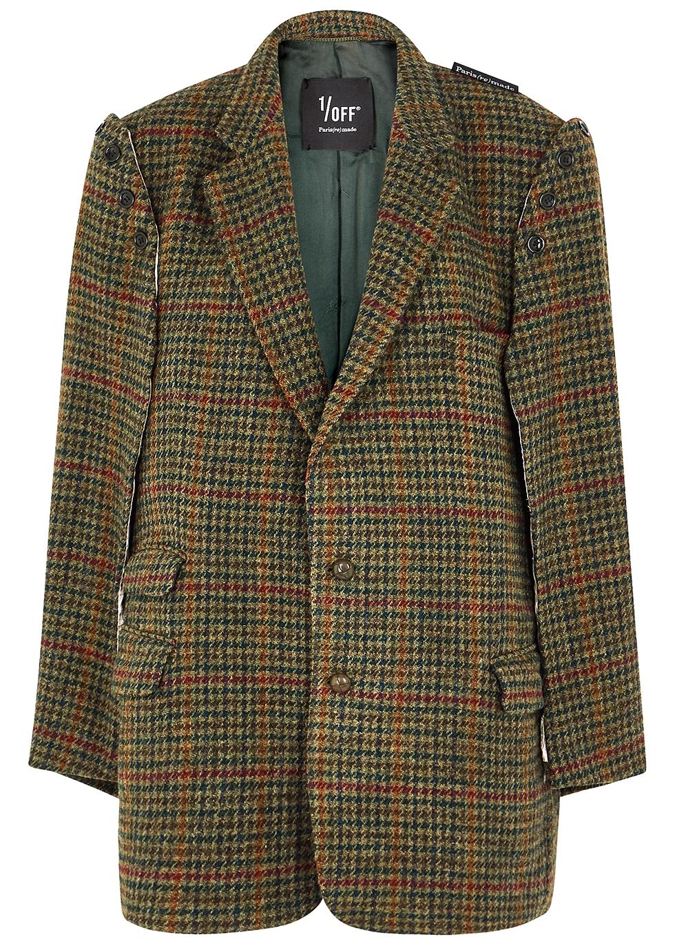 Houndstooth cape-effect wool blazer