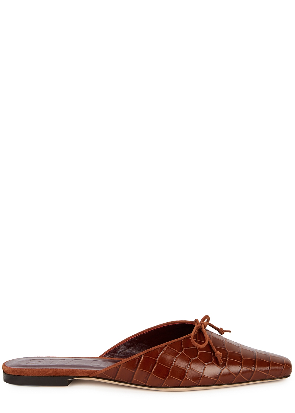Gina brown crocodile-effect leather flats