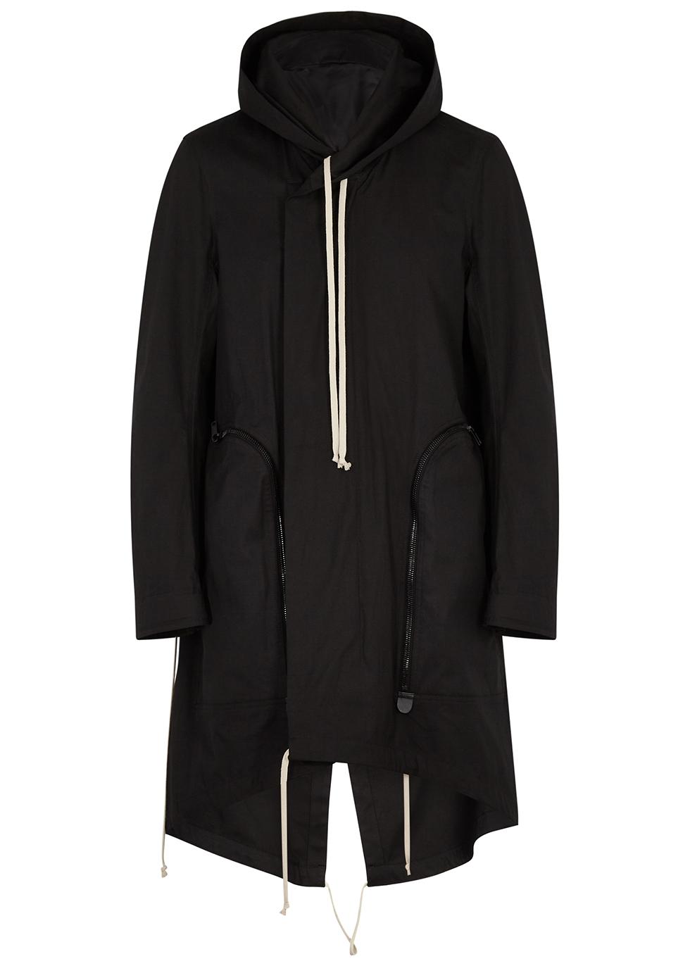 Black hooded stretch-cotton parka