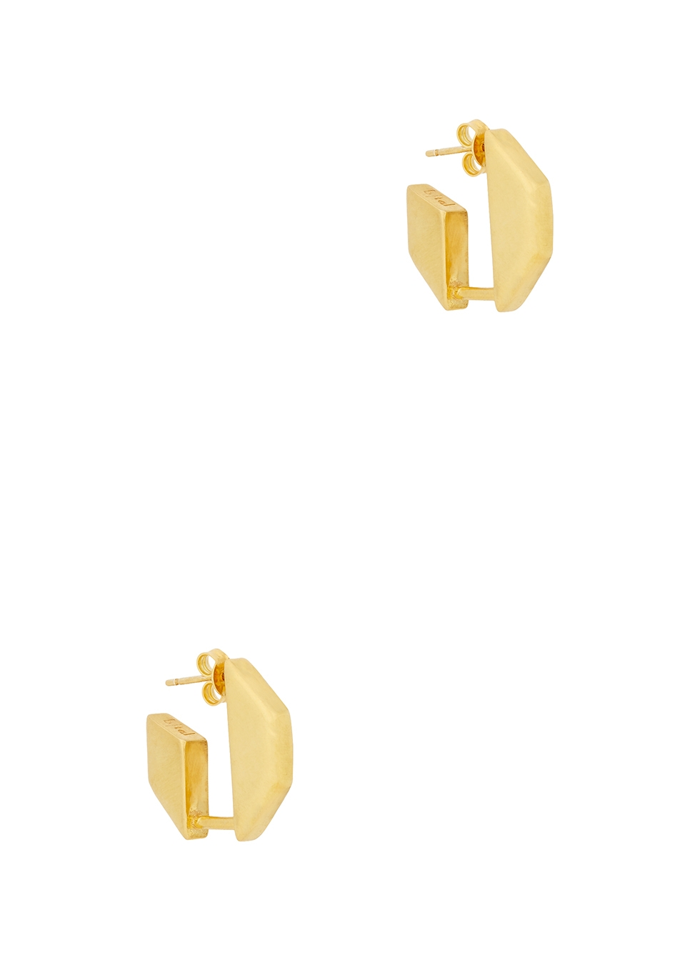 Gold-plated octagon hoop earrings