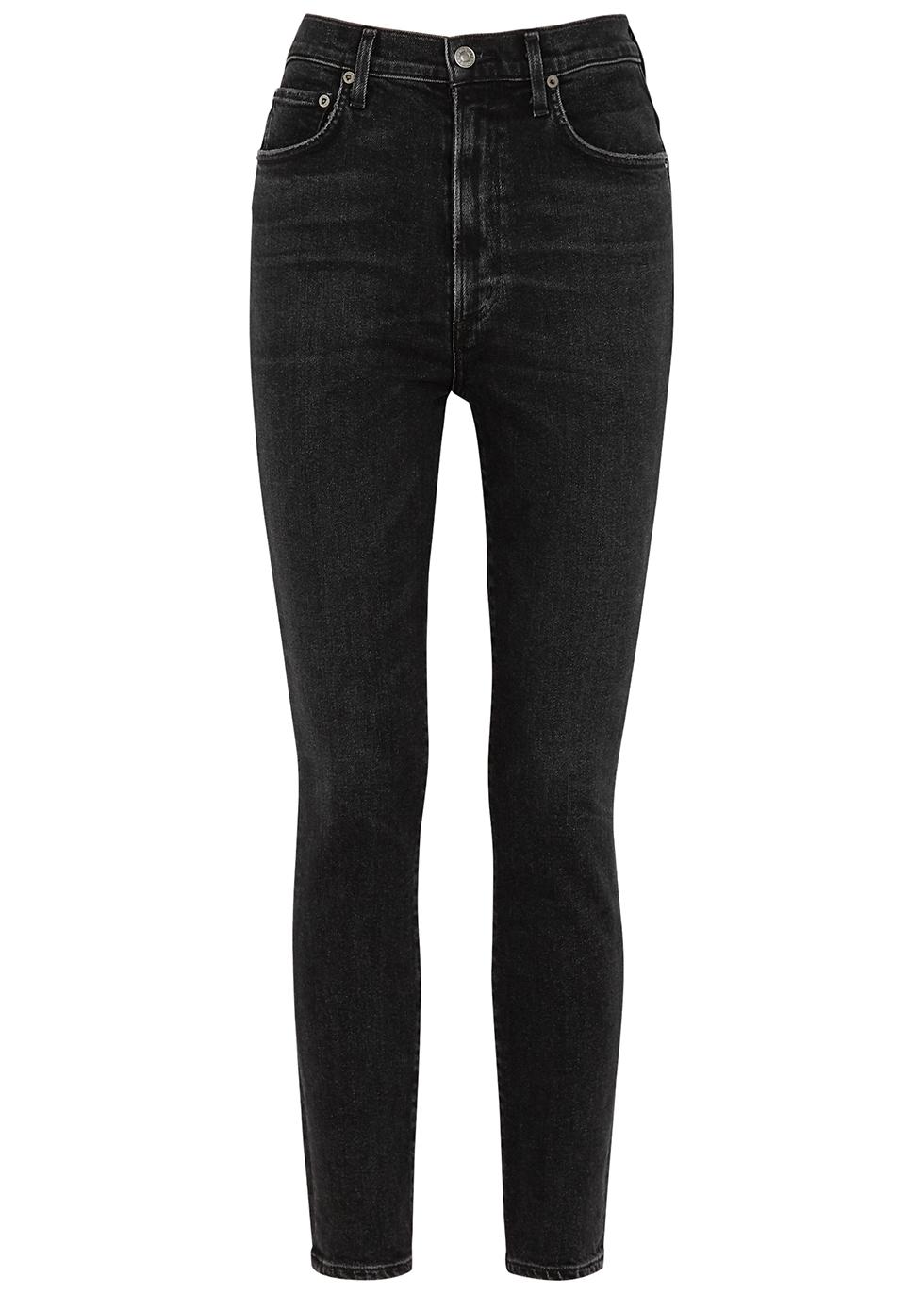 Pinch Waist black skinny jeans