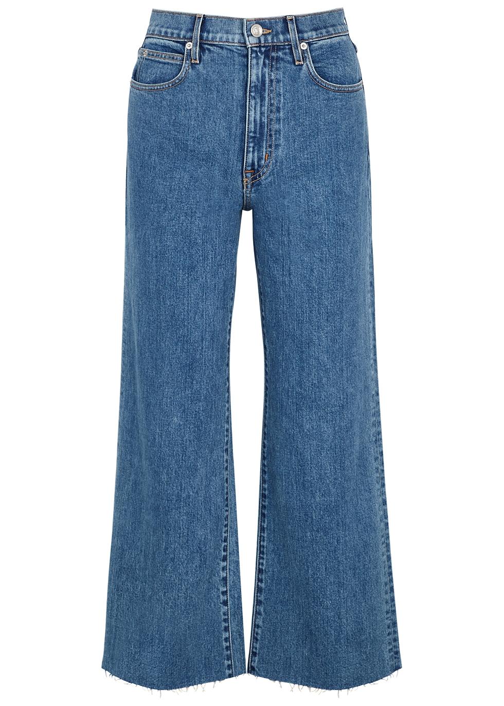 Grace blue wide-leg cropped jeans