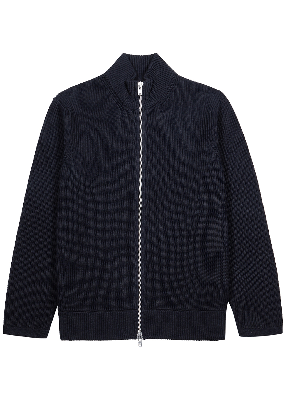 Piet navy ribbed cotton-blend cardigan