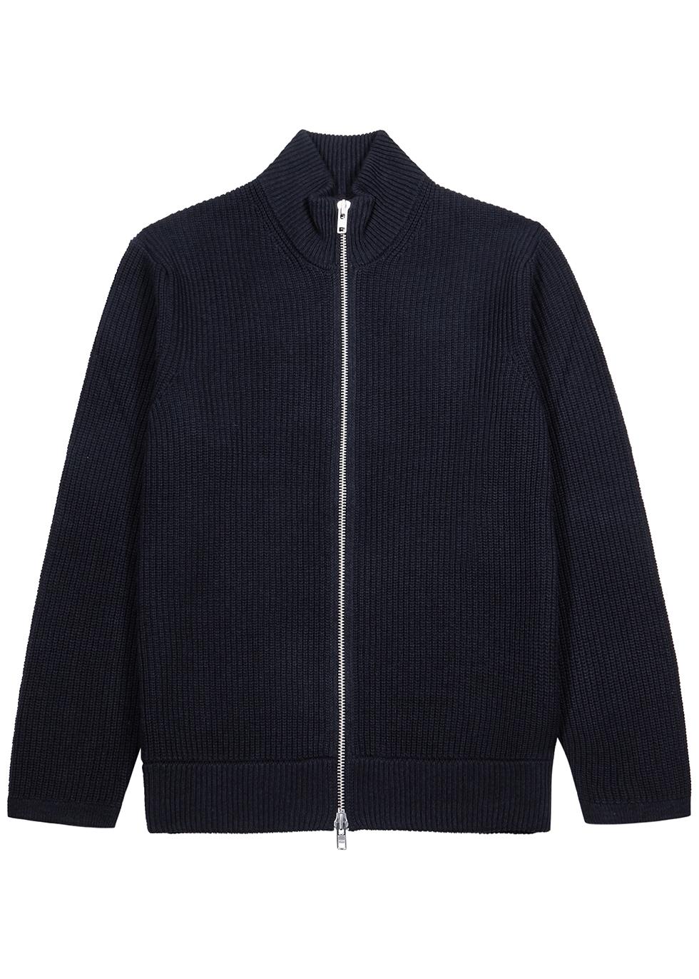 Piet navy ribbed cotton-blend cardigan