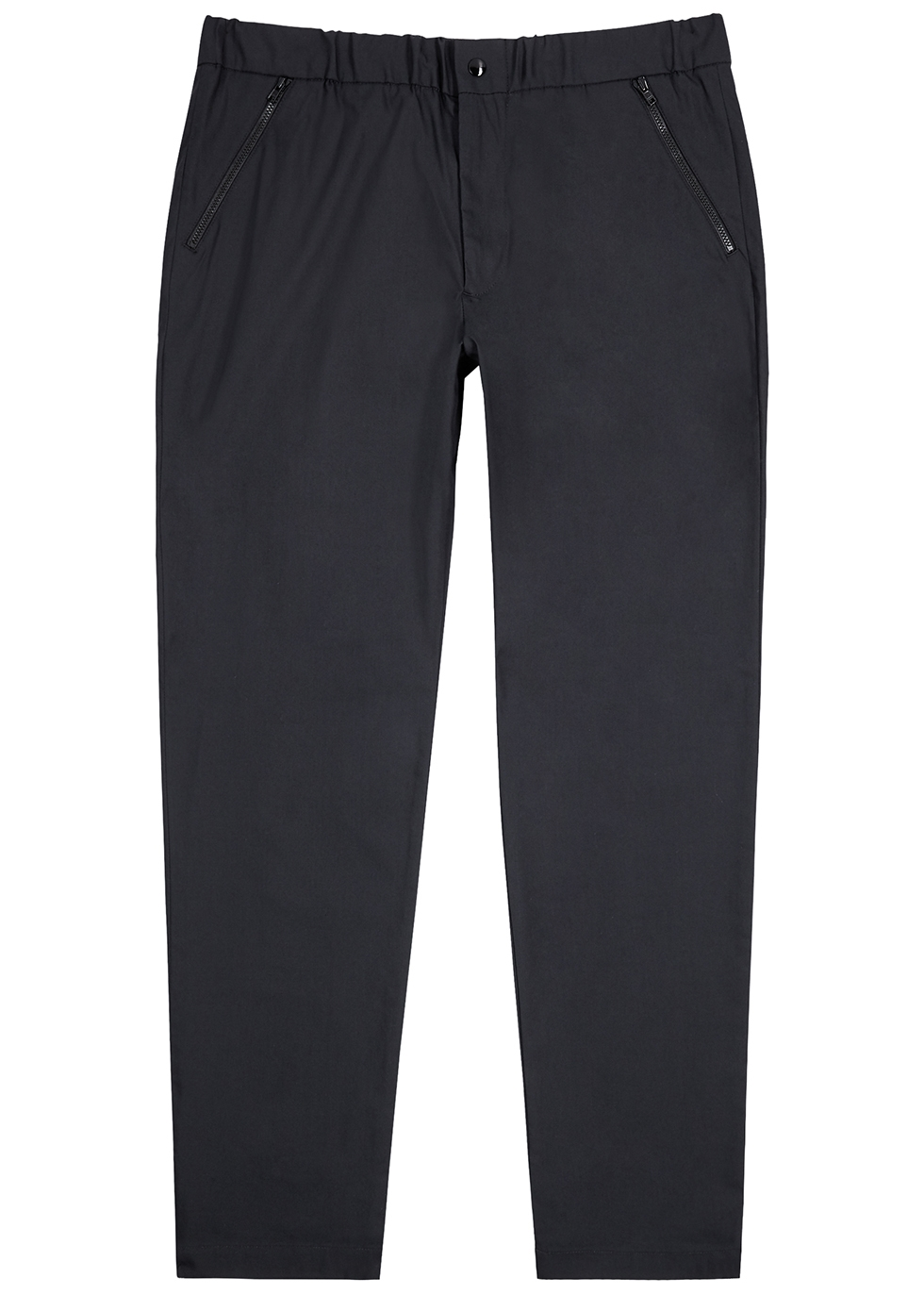 Valentin navy tapered cotton-blend trousers