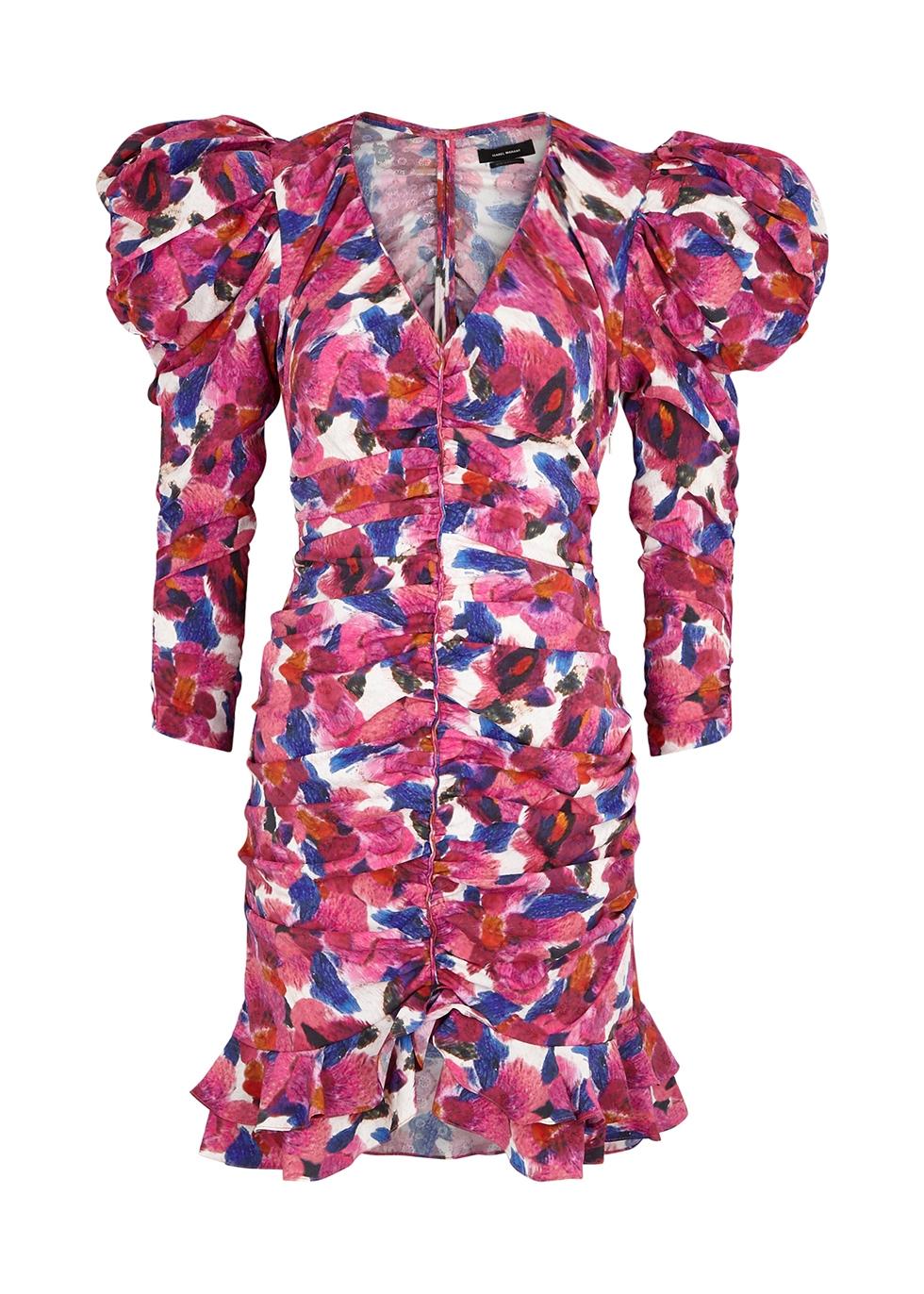 Mireya floral-print ruched mini dress