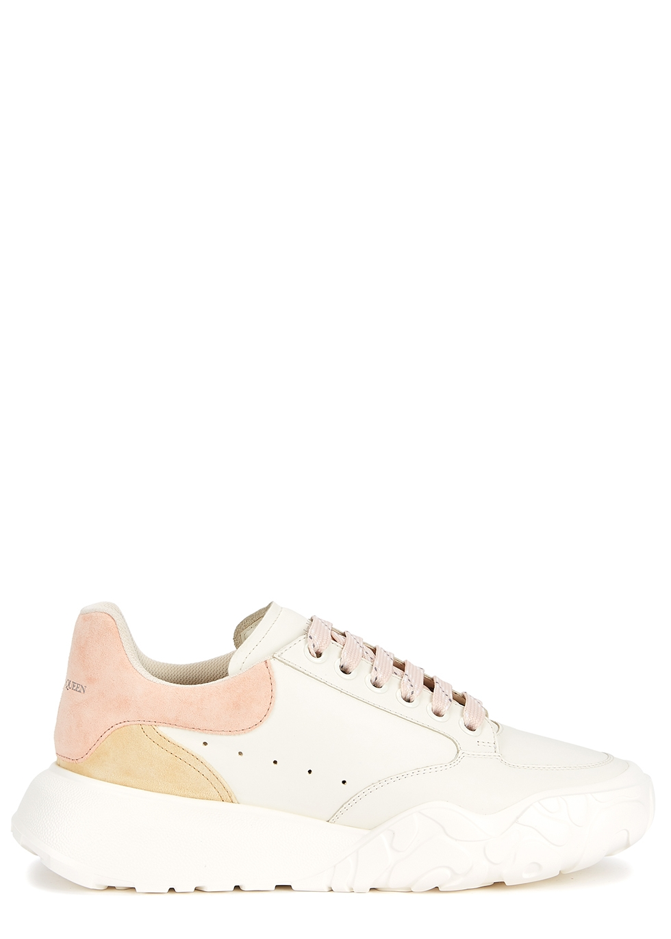 Court white panelled leather sneakers