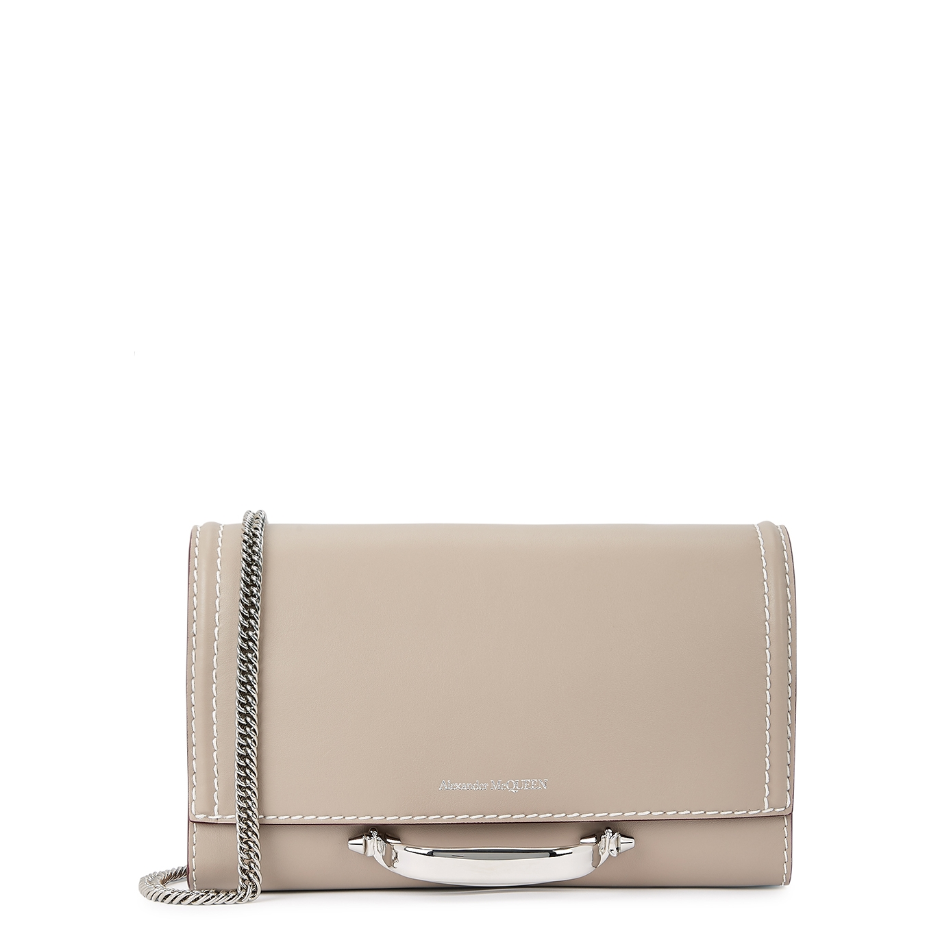 The Story small taupe leather clutch